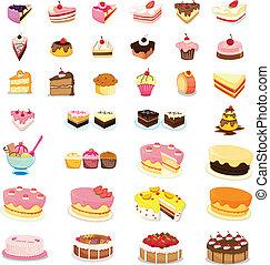 gemengd, toetjes, cakes