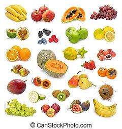 gemengd, verzameling, vruchten