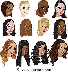 gemengd, vrouwen, biracial, gezichten