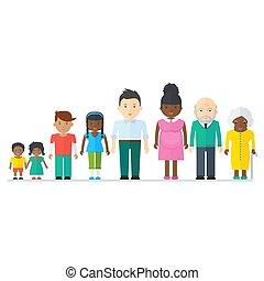 gemengd, zwarte familie