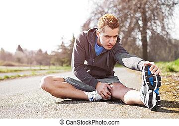 gemengde race, man, stretching
