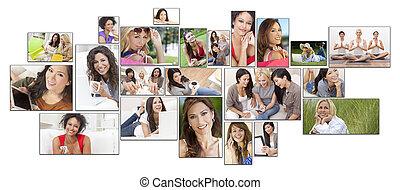 gemengde race, vrouwlijk, vrouwen, gezonde levensstijl, montage
