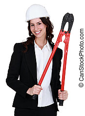 gemensam, kvinna, pliers., holdingen