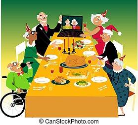 gemenskap, helgdag, middag, avgång