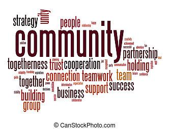 gemenskap, ord, moln