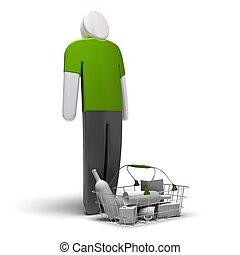 gemiddeld, consument, met, groene, leeg, tshirt, voor, een,...