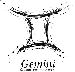 Gemini astrology sign, hand drawn horoscope zodiac icon....