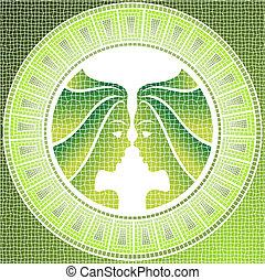 gemini - Element air: gemini zodiac sign on a mosaic, vector...