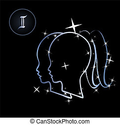 Gemini - Lovely zodiac signs formed by stars on black...