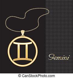 Gemini Gold Necklace - Gold embossed horoscope symbol, ...