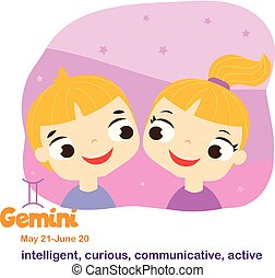 Gemini. Kids zodiac. Children horoscope sign. Astrological symbols in cartoon style