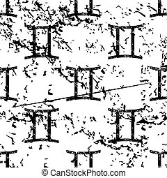Gemini pattern, grunge, monochrome