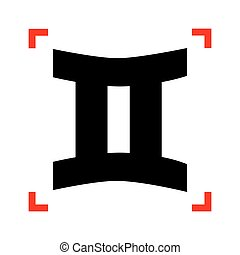 Gemini sign. Black icon in focus corners on white background. Is