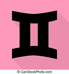 Gemini sign. Black icon with flat style shadow path on pink background.