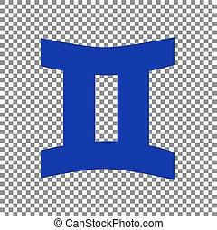 Gemini sign. Blue icon on transparent background.