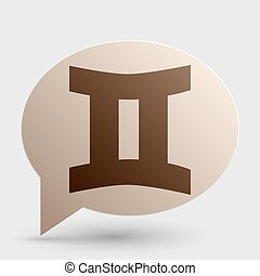 Gemini sign. Brown gradient icon on bubble with shadow.