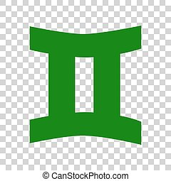 Gemini sign. Dark green icon on transparent background.