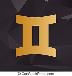 Gemini sign. Golden style on background with polygons.