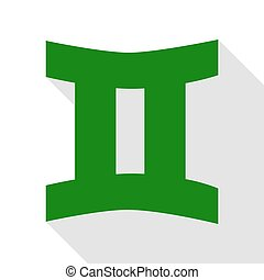 Gemini sign. Green icon with flat style shadow path.