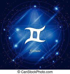 Gemini sign of the zodiac - Zodiac sign gemini. Vector space...