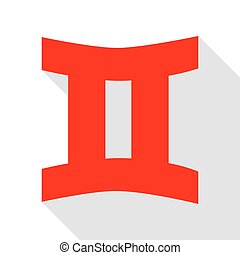 Gemini sign. Red icon with flat style shadow path.
