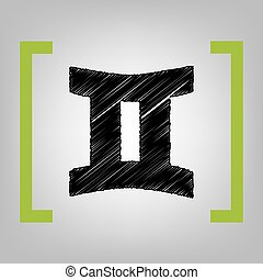 Gemini sign. Vector. Black scribble icon in citron brackets on grayish background.