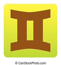 Gemini sign. Vector. Brown icon at green-yellow gradient square with rounded corners on white background. Isolated.