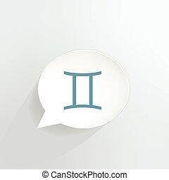 Gemini Sign - Gemini zodiac sign speech bubble.