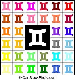 Gemini sign. Vector. Felt-pen 33 colorful icons at white and black backgrounds. Colorfull.
