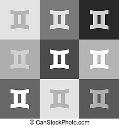 Gemini sign. Vector. Grayscale version of Popart-style icon.