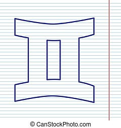 Gemini sign. Vector. Navy line icon on notebook paper as background with red line for field.