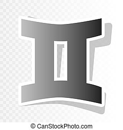 Gemini sign. Vector. New year blackish icon on transparent background with transition.