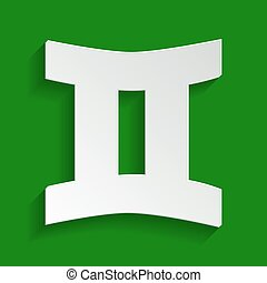 Gemini sign. Vector. Paper whitish icon with soft shadow on green background.