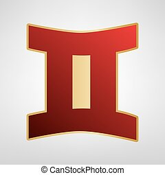 Gemini sign. Vector. Red icon on gold sticker at light gray background.