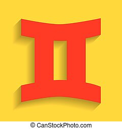 Gemini sign. Vector. Red icon with soft shadow on golden background.