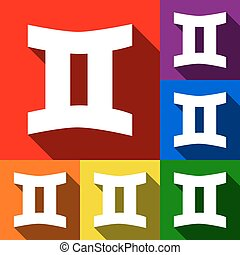 Gemini sign. Vector. Set of icons with flat shadows at red, orange, yellow, green, blue and violet background.