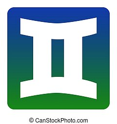 Gemini sign. Vector. White icon at green-blue gradient square with rounded corners on white background. Isolated.