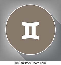 Gemini sign. Vector. White icon on brown circle with white contour and long shadow at gray background. Like top view on postament.