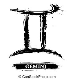 Gemini symbol - Zodiac sign Gemini created in grunge style