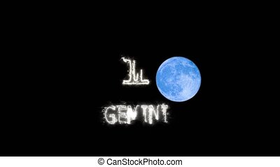 gemini text saber effect and zodiac symbol is slowing appear and full moon