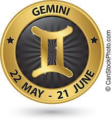 Gemini zodiac gold sign, gemini symbol vector illustration