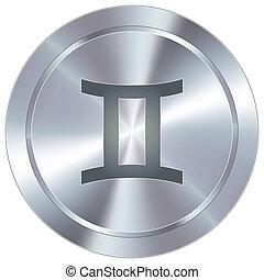 Gemini zodiac on industrial button - Gemini zodiac sign...