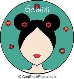 Gemini zodiac sign. Female avatar