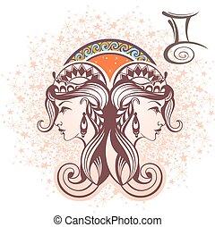 Gemini. Zodiac sign - Zodiac symbol for your design