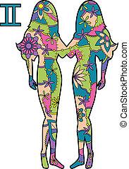 Gemini zodiac sign - vector illustration of Gemini zodiac...