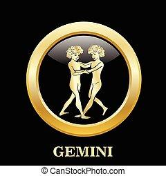 Gemini zodiac sign in circle frame - Gemini zodiac sign in...