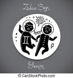 Gemini zodiac sign of horoscope circle emblem in cartoon style.