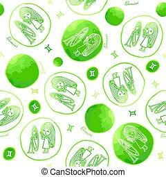 Gemini zodiac sign seamless pattern