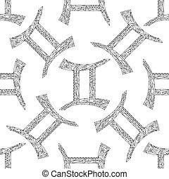 Gemini zodiac sign. Vector hand drawn horoscope pattern. Astrological seamless background.
