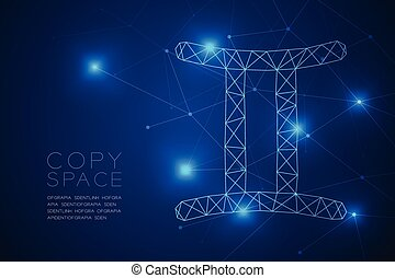 Gemini Zodiac sign wireframe Polygon frame structure, Fortune teller concept design illustration isolated on blue gradient background with copy space, vector eps 10